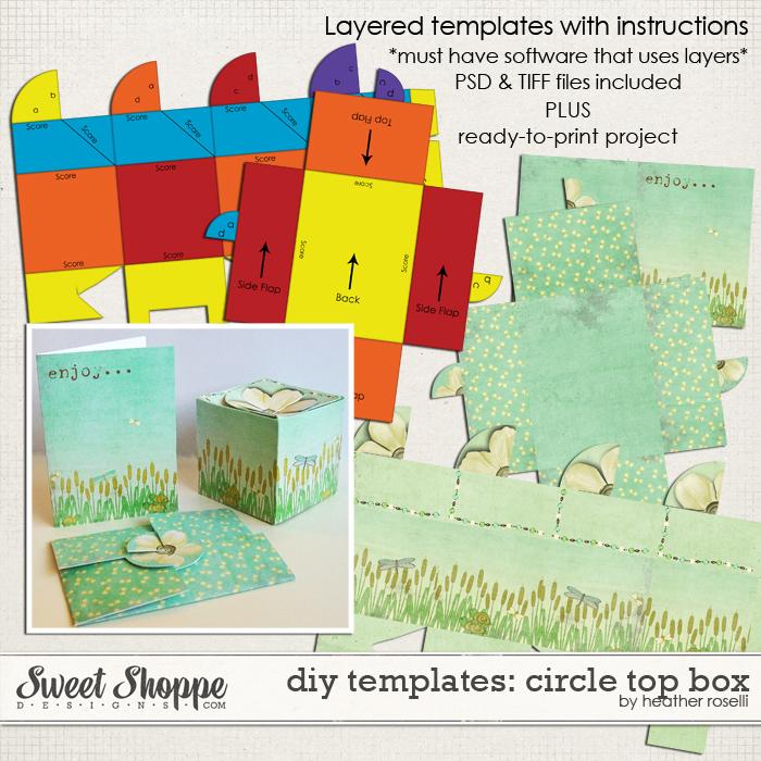 DIY Printable Templates: Circle Top Box by Heather Roselli