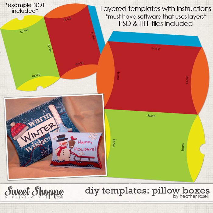 DIY Printable Templates: Pillow Boxes by Heather Roselli