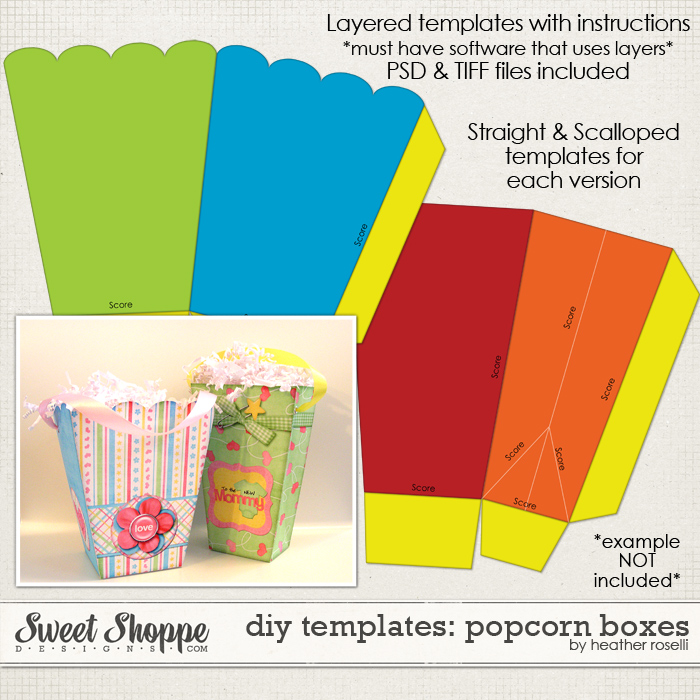 DIY Printable Templates: Popcorn Boxes by Heather Roselli