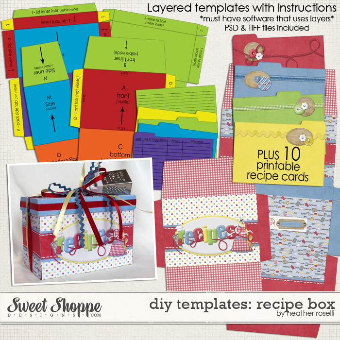 DIY Printable Templates: Recipe Box by Heather Roselli