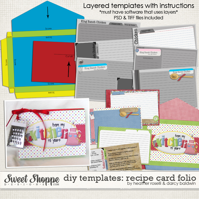 DIY Printable Templates: Recipe Card Folio by Heather Roselli & Darcy Baldwin