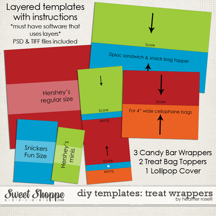 DIY Printable Templates: Treat Wrappers by Heather Roselli