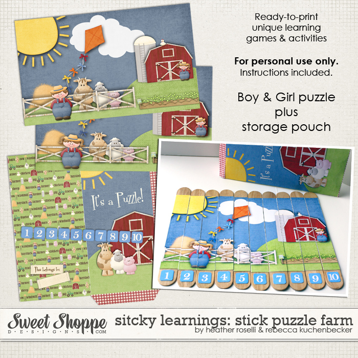 Sticky Learnings: Stick Puzzle Farm by Heather Roselli & Rebecca Kuchenbecker