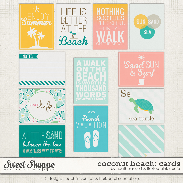 Coconut Beach Cards by Heather Roselli & Tickled Pink Studio