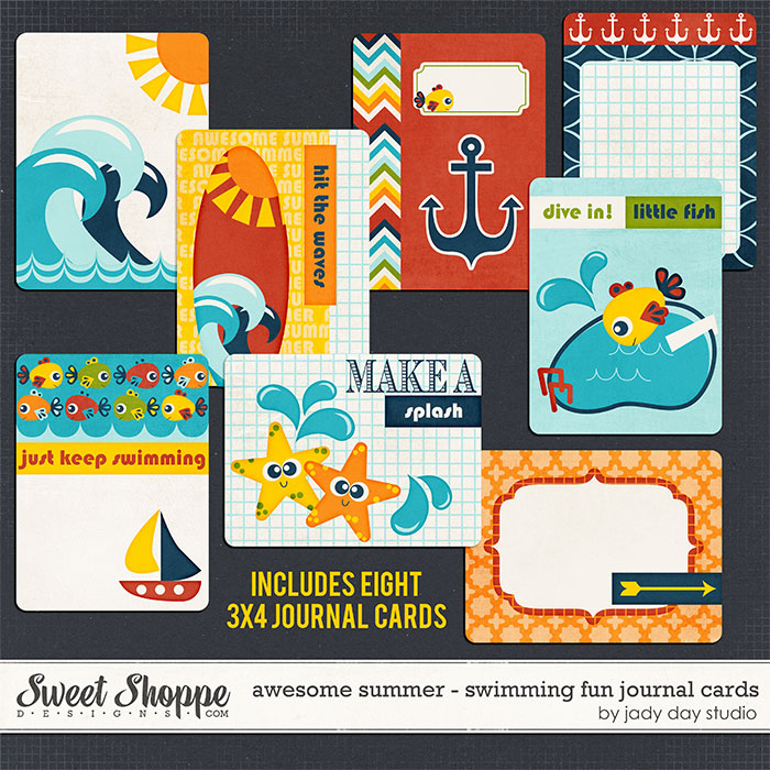 Awesome Summer - Swimming Fun Journal Cards by Jady Day Studio