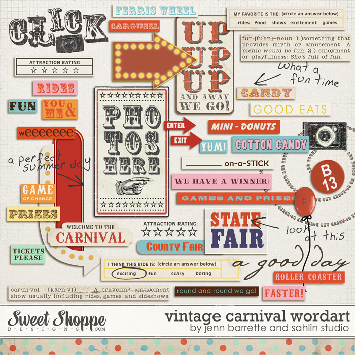 Vintage Carnival Wordart by Jenn Barrette and Sahlin Studio