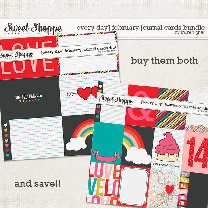 [every day]february journal cards bundle by lauren grier