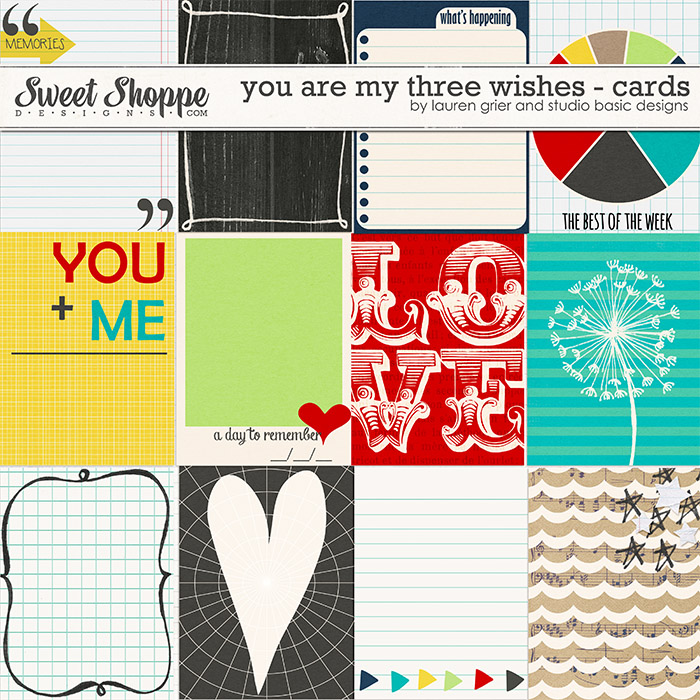 You Are My Three Wishes Journal Cards by Lauren Grier & Studio Basic
