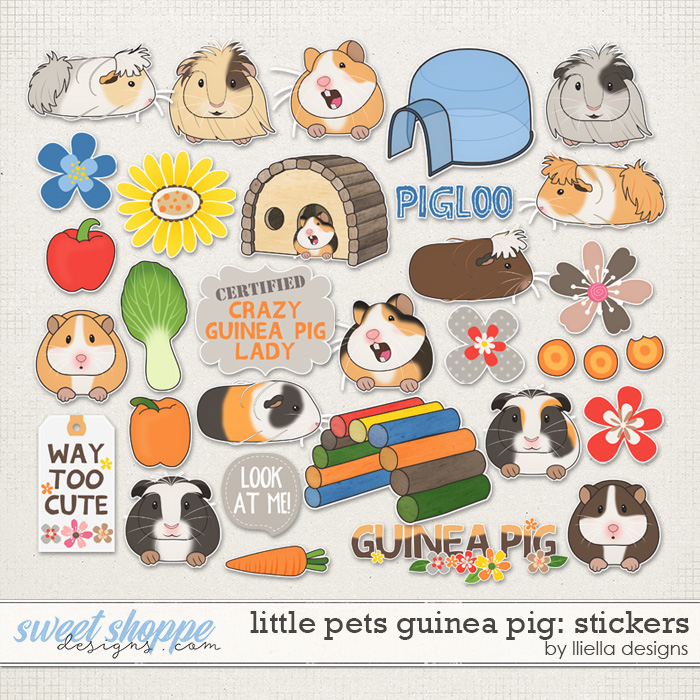 Little Pets Guinea Pig Stickers by lliella designs