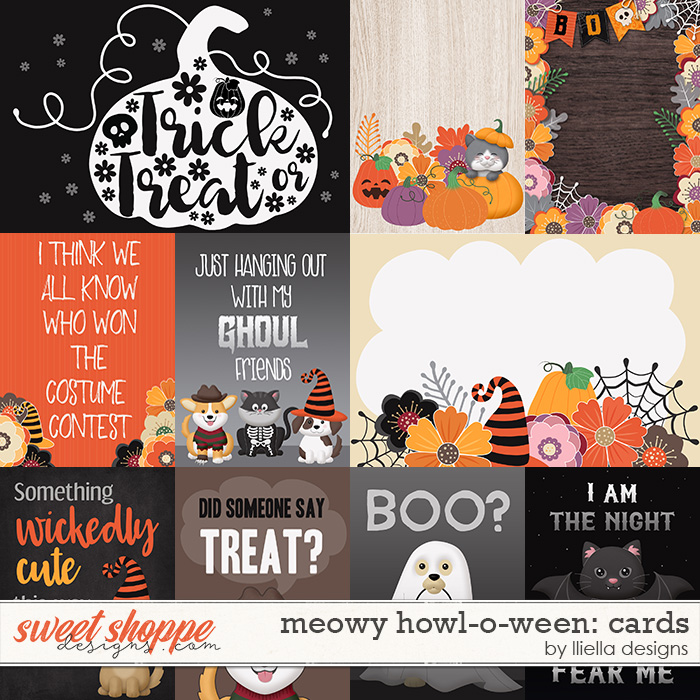 Meowy Howl-o-ween Cards by lliella designs