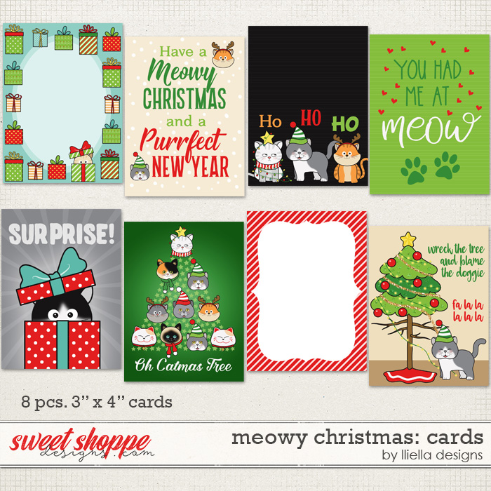 Meowy Christmas: Cards by lliella designs