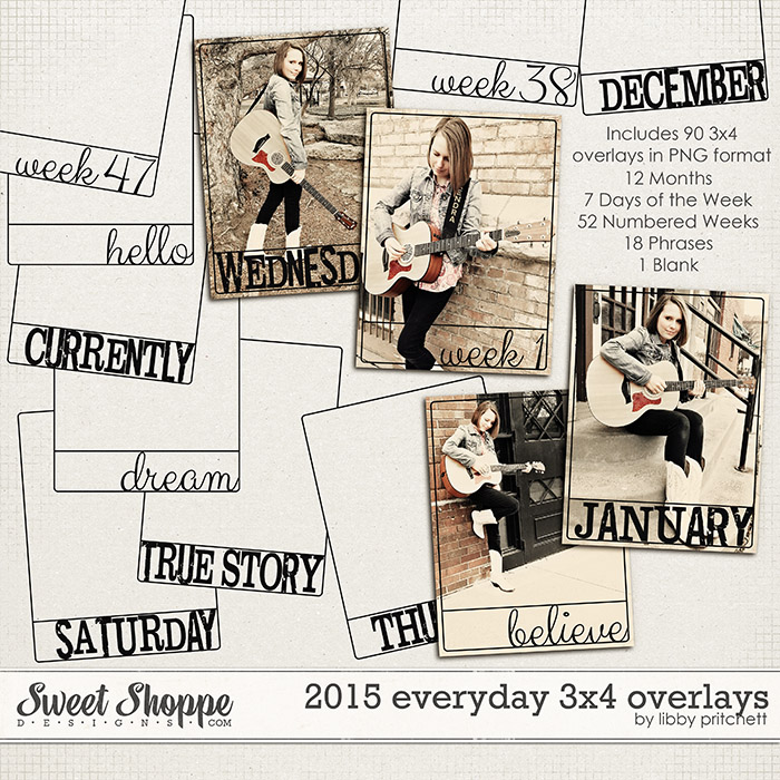 2015 Everyday 3x4 Overlays by Libby Pritchett