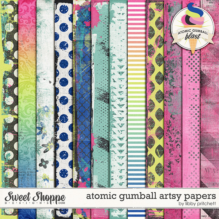 Atomic Gumball Artsy Papers by Libby Pritchett