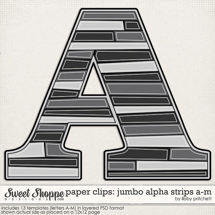Paper Clips - Jumbo Alpha Strips A-M by Libby Pritchett