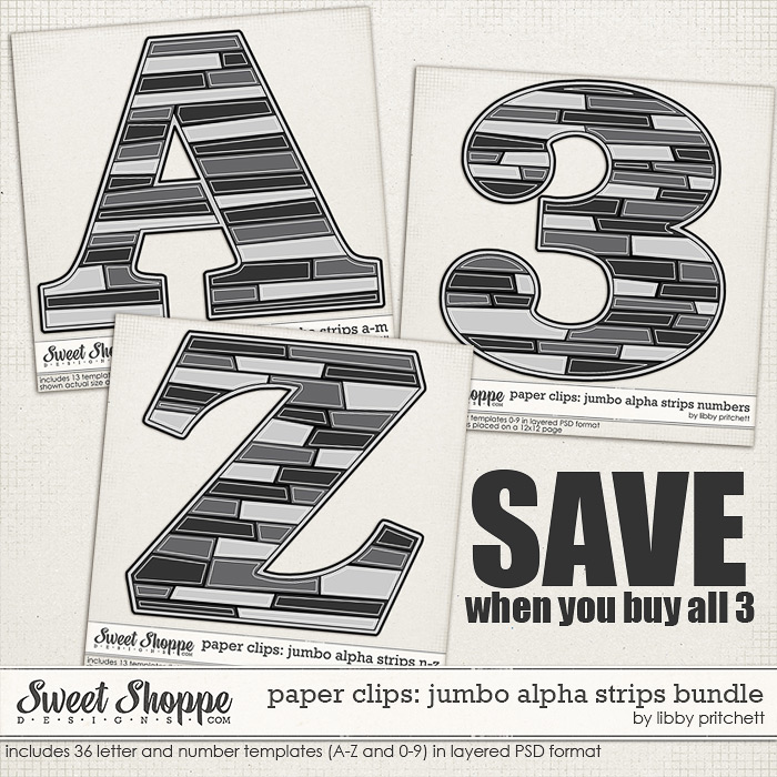 Paper Clips - Jumbo Alpha Strips Bundle by Libby Pritchett