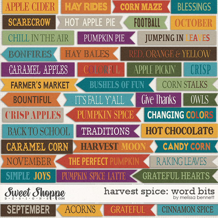 Harvest Spice Word Bits by Melissa Bennett