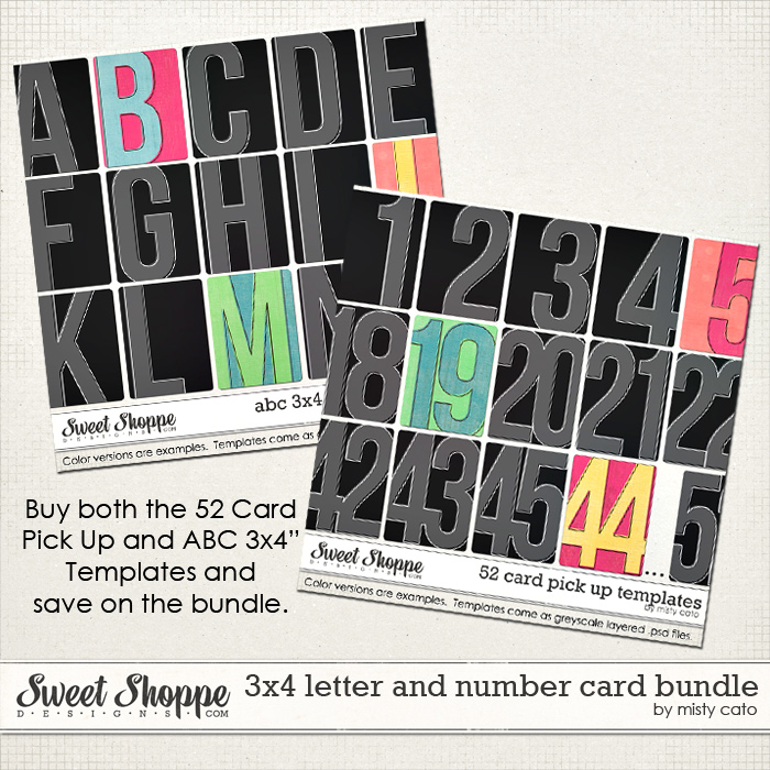 52 Card Pick Up and ABC 3x4 Card Templates Bundle by Misty Cato