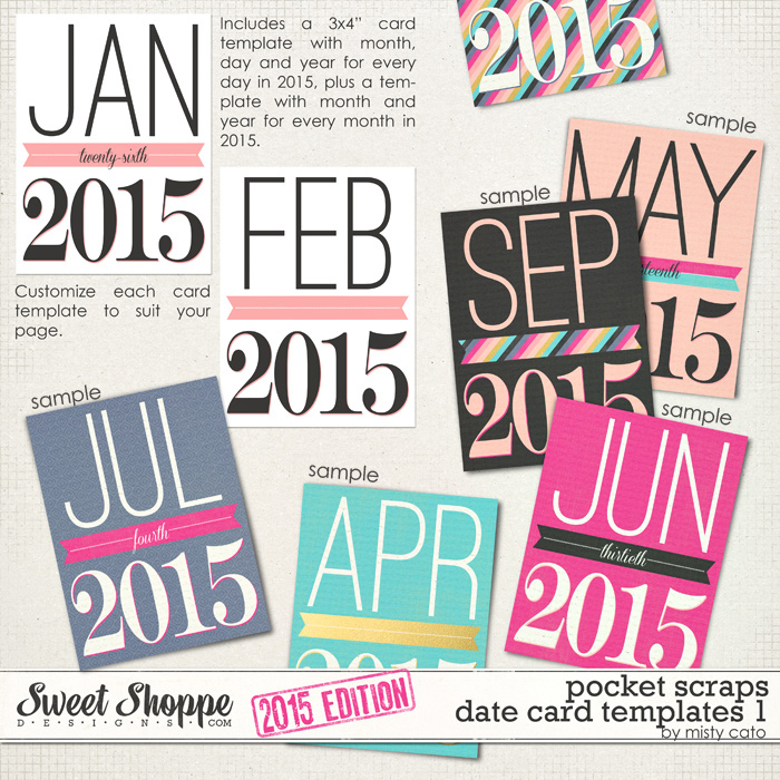 2015 Pocket Scraps Date Card Templates 1 by Misty Cato