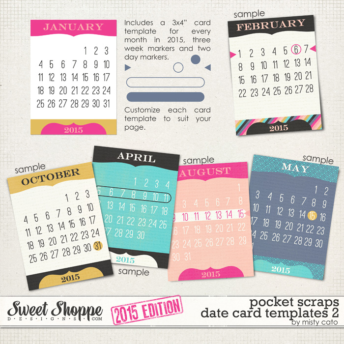 2015 Pocket Scraps Date Card Templates 2 by Misty Cato