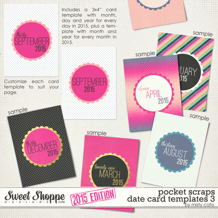 2015 Pocket Scraps Date Card Templates 3 by Misty Cato