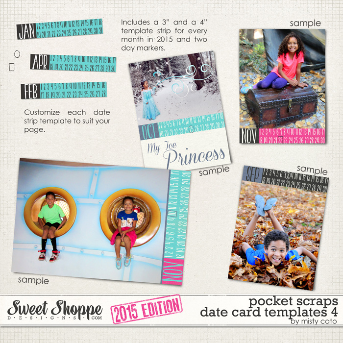 2015 Pocket Scraps Date Card Templates 4 by Misty Cato