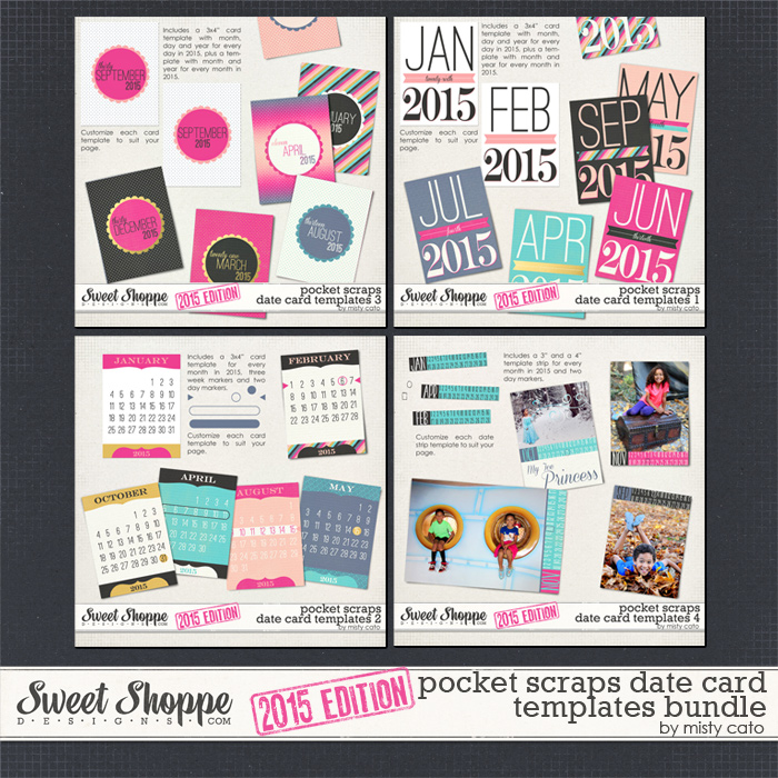 2015 Pocket Scraps Date Card Templates Bundle by Misty Cato