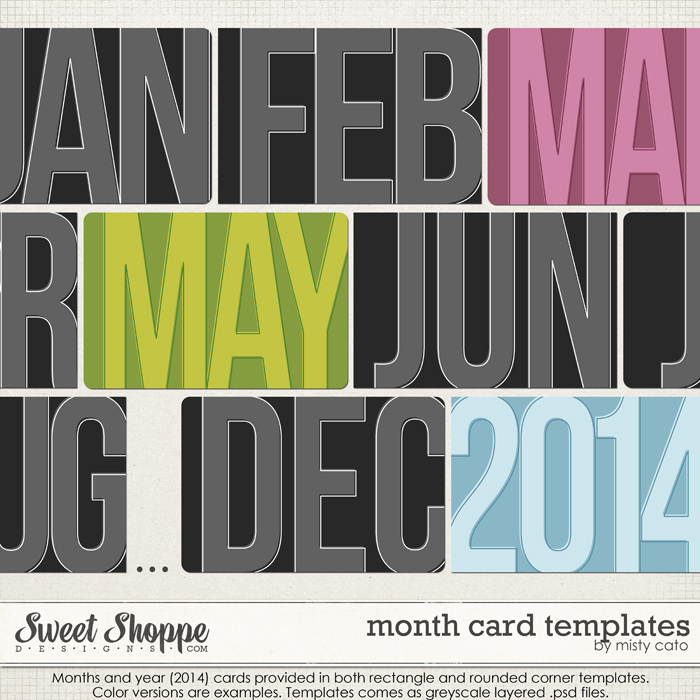 Month Card Templates by Misty Cato