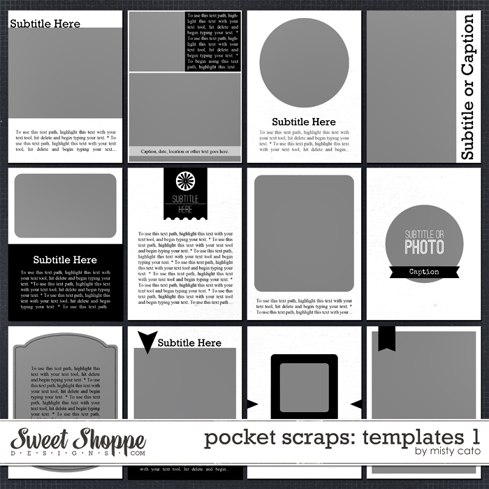 Pocket Scraps Templates 1 by Misty Cato
