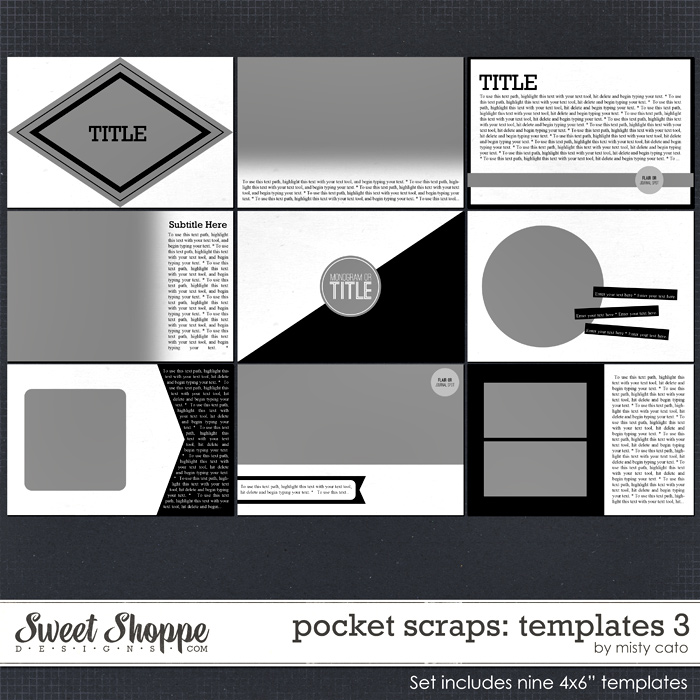 Pocket Scraps Templates 3 by Misty Cato
