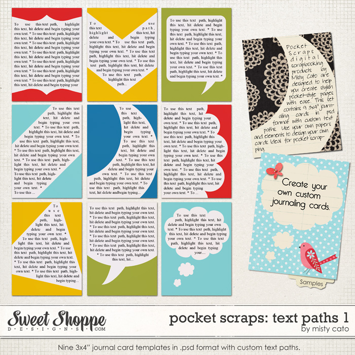 Pocket Scraps: Text Paths 1 by Misty Cato
