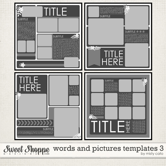 Words and Pictures Templates 3 by Misty Cato