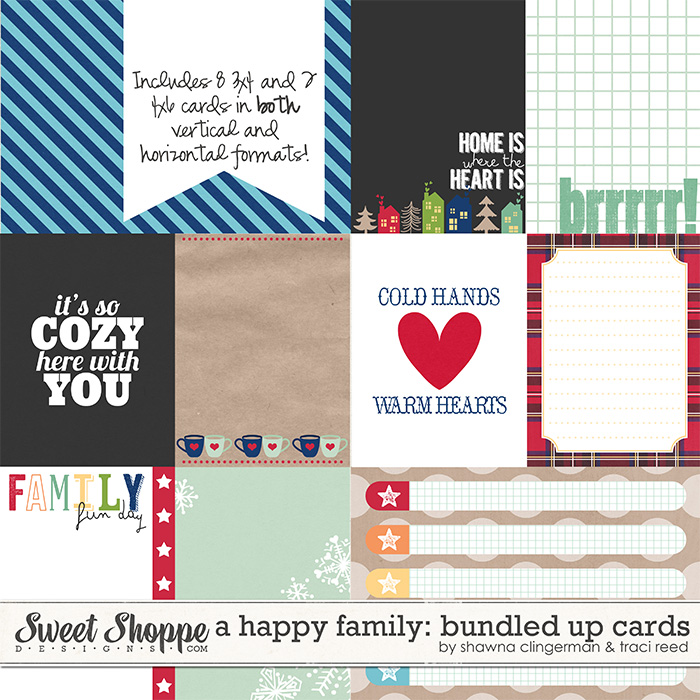 A Happy Family: Bundled Up Journal Cards by Traci Reed and Shawna Clingerman