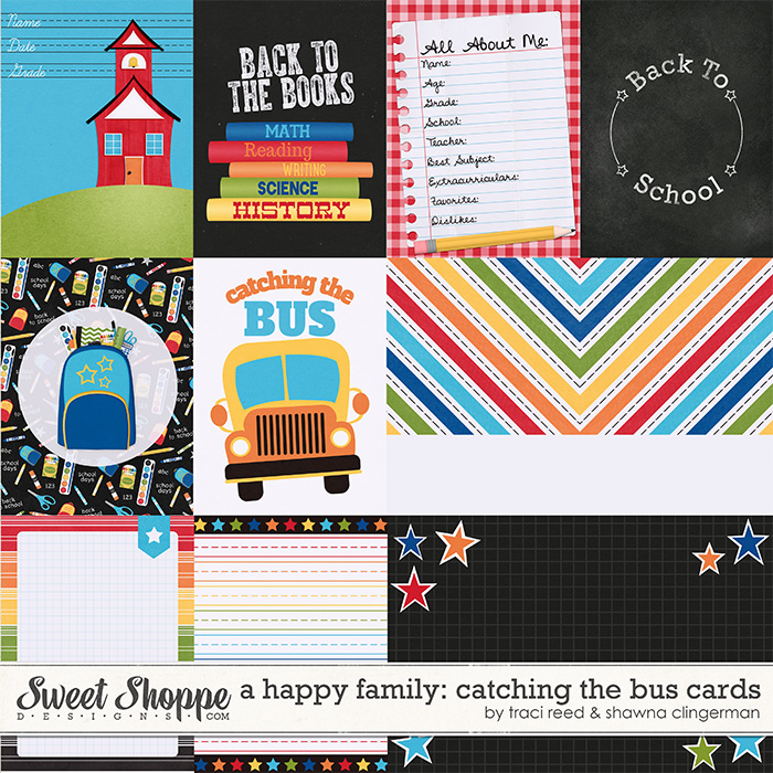 A Happy Family: Catching the Bus Cards by Traci Reed and Shawna Clingerman