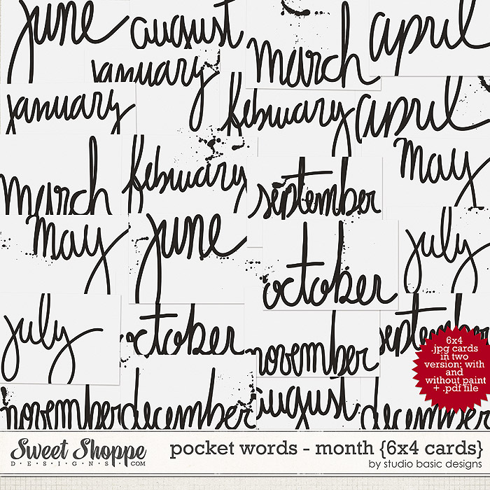 Pocket Words - Months {6x4 cards} by Studio Basic