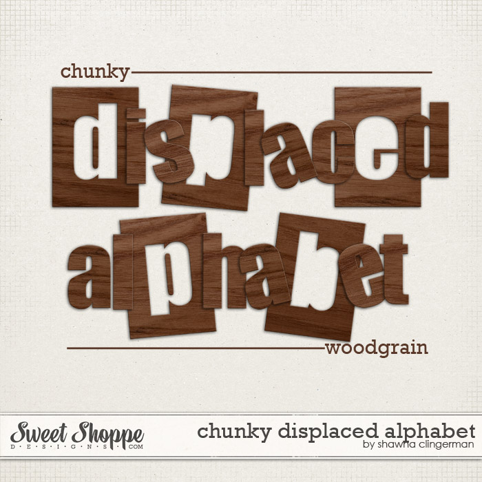 Chunky Displaced Alphabet: Woodgrain by Shawna Clingerman