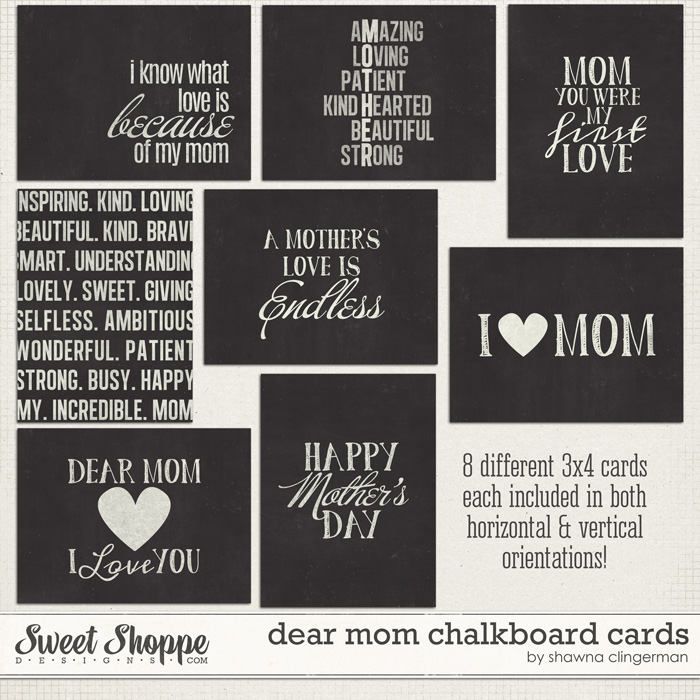 Dear Mom Chalkboard Cards by Shawna Clingerman
