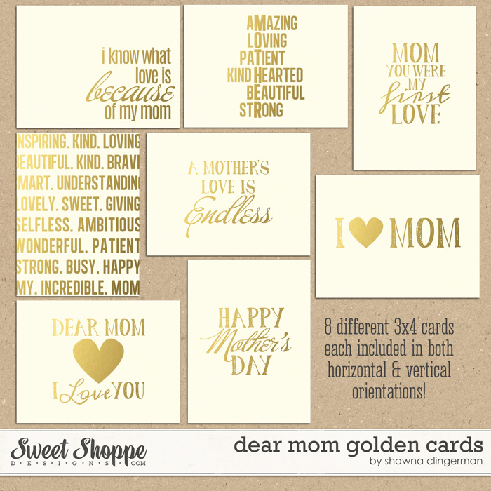 Dear Mom Golden Cards by Shawna Clingerman