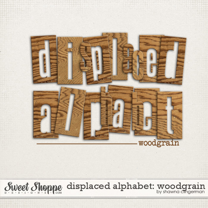 Displaced Alphabet: Woodgrain by Shawna Clingerman