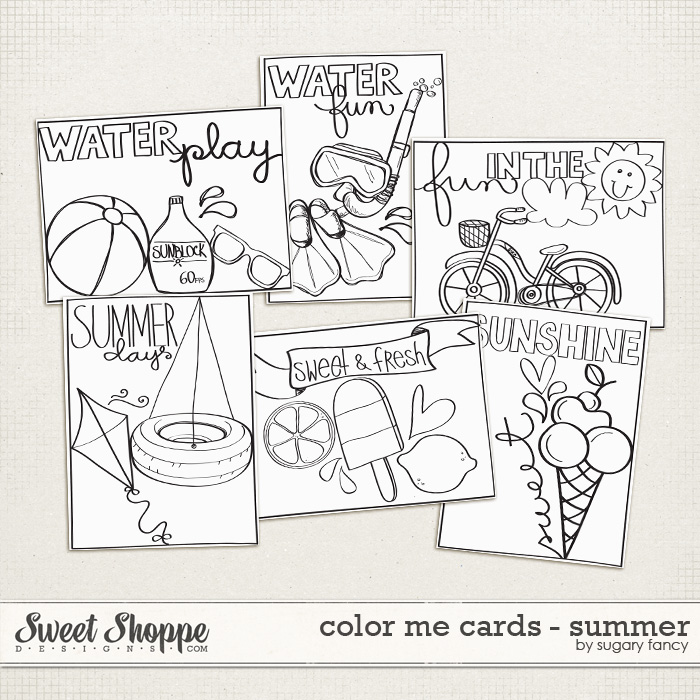 Color Me Cards - Summer by Sugary Fancy