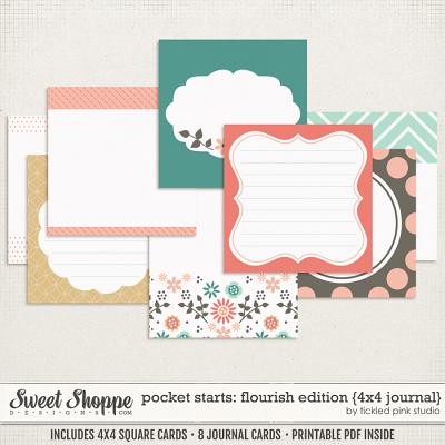 Pocket Starts: Flourish Edition 4x4 Journal Cards by Tickled Pink Studio