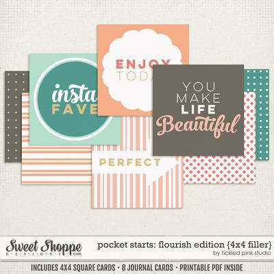 Pocket Starts: Flourish Edition 4x4 Filler Cards by Tickled Pink Studio