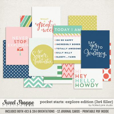 Pocket Starts: Explore Edition 3x4 Filler Cards by Tickled Pink Studio