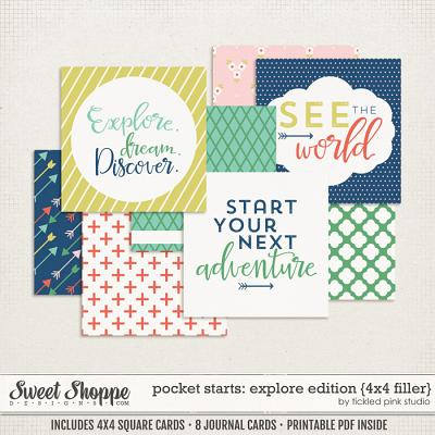 Pocket Starts: Explore Edition 4x4 Filler Cards by Tickled Pink Studio