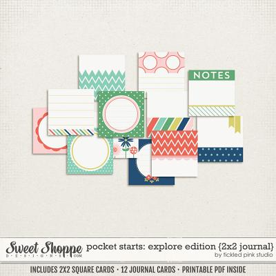 Pocket Starts: Explore Edition 2x2 Journal Cards by Tickled Pink Studio