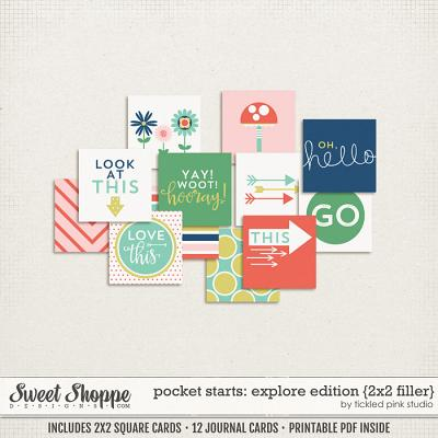 Pocket Starts: Explore Edition 2x2 Filler Cards by Tickled Pink Studio
