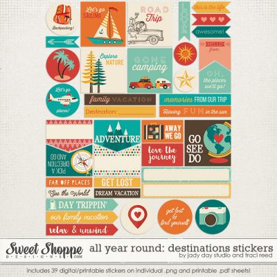 All Year Round: Destinations Stickers by Traci Reed and Jady Day Studio