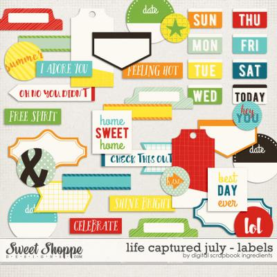 Life Captured July | Labels and Word Art by Digital Scrapbook Ingredients