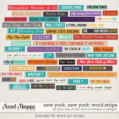 New York, New York : Word Strips by Jady Day Studio & Amanda Yi
