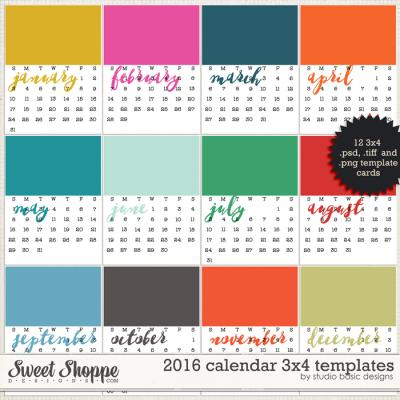 2016 Calendar 3x4 Templates by Studio Basic