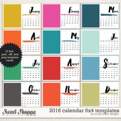 2016 Calendar 6x4 Templates by Studio Basic